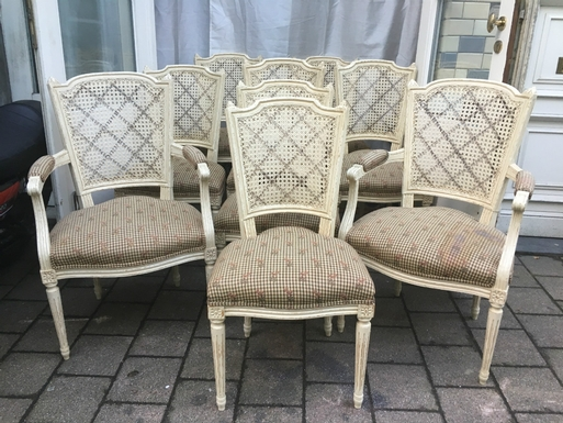 Louis XVI style A set of 9 seats in patinated wood, French 20 thC