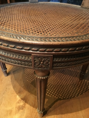 Louis XVI style Turning bureau seat in carved oak, French 19th Century