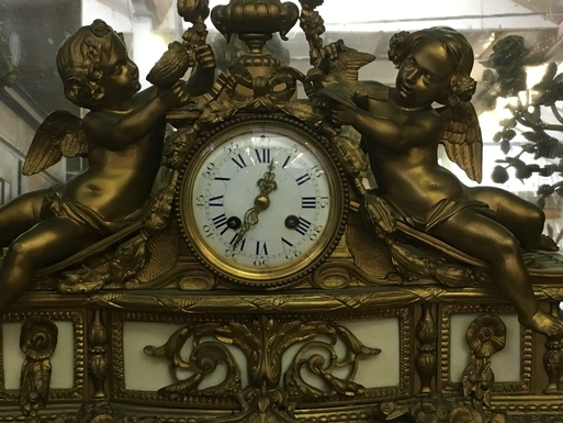 Napoleon III style Clock set in gilded bronze and white marble, French 19th Century