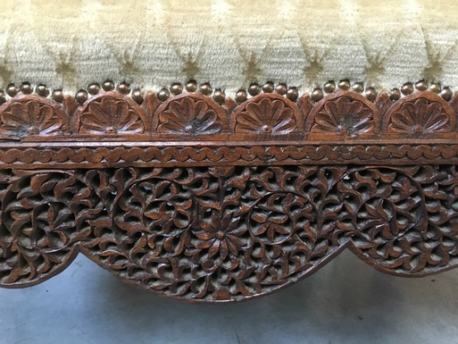 Oriental style Large Pouf in fine carved wood, Burma 1880 1900