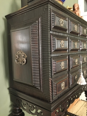 Renaissance style Cabinet in chestnut / ebony, Portuguese 18th Century