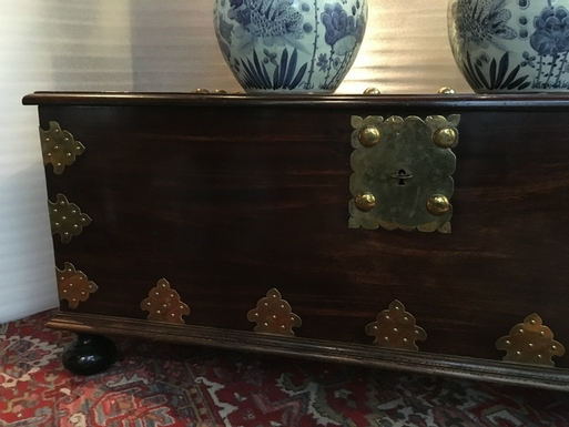 Renaissance Louis XIII style Chest in solid wood, East Indian Company end 18th , begin 19thC.