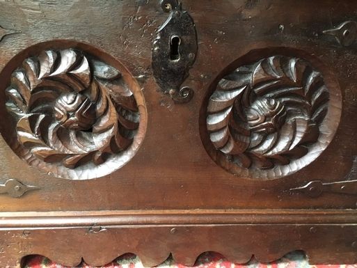 Small Renaissance style  chest in carved wood, French 19th Century